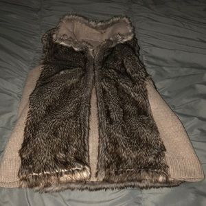 New York and Company Reversible Faux Fur Vest